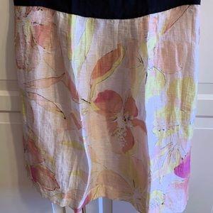 Loft linen blend floral skirt
